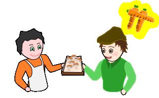 Le bobo achète des champignon auprès du micologue.