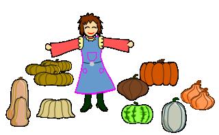 Dessin d'une jardinier qui cultive des curbisses.