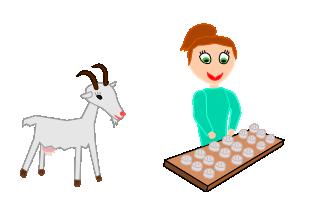 Dessin d'un bergère qui fait du fromage de chèvre.