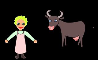 Dessin d'une fermière avec sa vache.