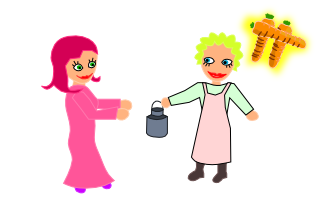 Le couple achète du lait frais auprès de la fermière.