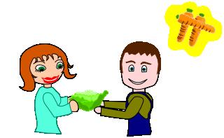 La fille achète une salade auprès du jardinier.